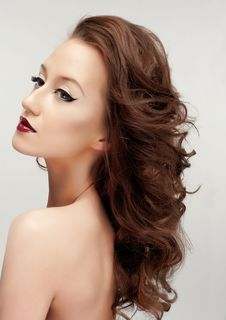 Eyeliner And Red Lips Royalty Free Stock Photos