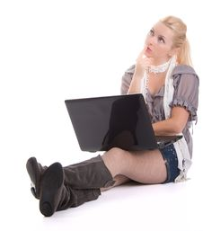 Free Woman With A Laptop Computer Stock Photos - 18277493