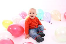 Free Little Boy With Colored Balloons Stock Photo - 18277500