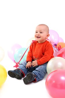 Free Smiling Baby With Balloons Royalty Free Stock Photos - 18277568