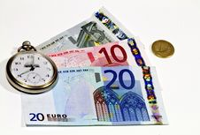 Free Euro Banknotes And Watch Royalty Free Stock Photos - 18277688