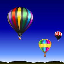 Free Vector Desert Landscape With Flying Balloons Stock Image - 18277731