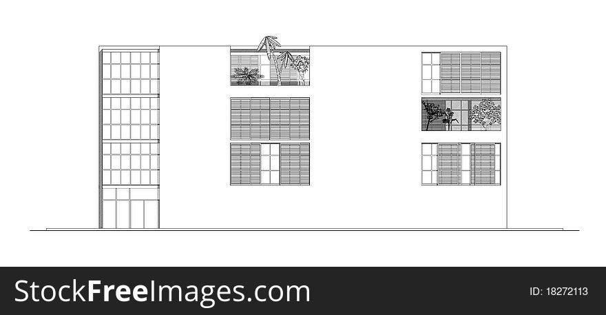 Elevation of Modern Building