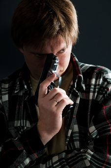 The Man With A Pistol. Royalty Free Stock Image