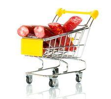 Free Salami Sausage In The Shopping Cart Stock Photo - 18280910