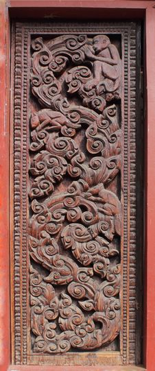 Free Decorated Wooden Beside Door Royalty Free Stock Photo - 18281225