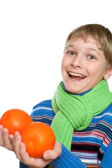 Free Teen Shows Oranges Royalty Free Stock Photography - 18282097