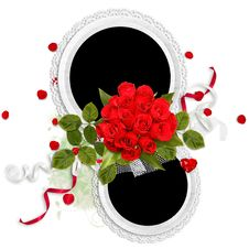 Free Valentine Double Frame With Red Roses Stock Photos - 18282283