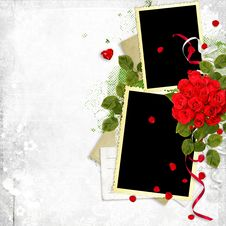 Frame With Red Roses On The White Background Royalty Free Stock Photos