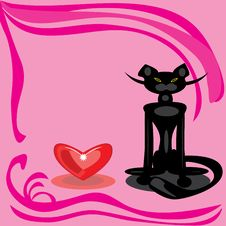 Free Black Cat And Heart On A Pink Background. Royalty Free Stock Images - 18282999