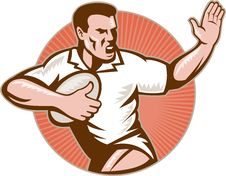 Free Rugby Player With Ball Fending Off Stock Photos - 18283033