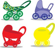 Set Children S Prams Royalty Free Stock Photography