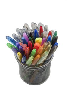 Colored Pens In The Pen Holder, Isolated On White Stock Photos