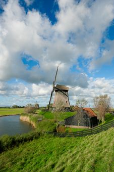 Beautiful Windmill Landscape In The Netherlands Royalty Free Stock Image