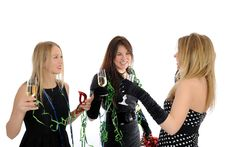 Free Three Beautiful Woman Friends Celebrating On Party Stock Photos - 18284063