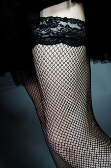 Sexy Legs In Black Lace Provocative Stockings Stock Image