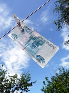 Russian Money Hanging On The Clothesline. Stock Photography