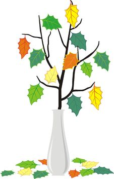 Free Branch In Vase And Fallen Down Leaves Royalty Free Stock Photos - 18284798