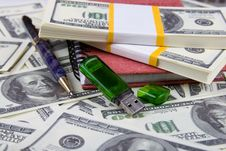 Dollars, Notebook And Pen Stock Image