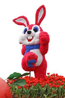 Free Vigorous Rabbit Flowered With Tulips Stock Image - 18285151