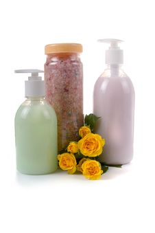 Free Bottles With Liquid Soap And Sea Salt Stock Photo - 18285430