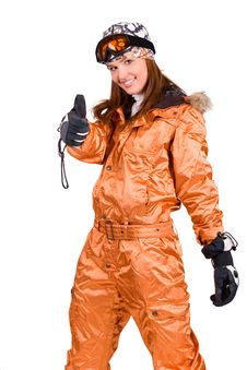 Woman With A Snowboard Royalty Free Stock Photo