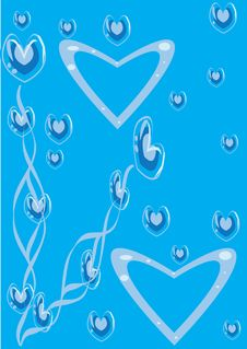 Abstract Blue Background With Heart Stock Images