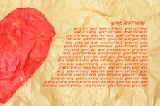 Free Half Heart Shape On Crumpled Paper Royalty Free Stock Photography - 18286947