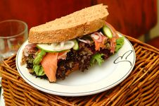 Free Sandwich With Smoked Salmon Stock Images - 18287094