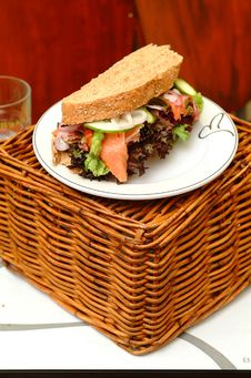 Free Sandwich With Smoked Salmon Royalty Free Stock Images - 18287129