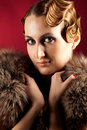 Free Portrait Of Caucasian Elegant Woman Holding Fur Stock Photo - 18290300