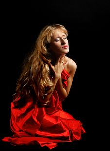 Free Blond Woman In Red - Painfull Emotions Royalty Free Stock Photos - 18290188