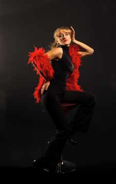 Blond Woman Dance With Red Boa Royalty Free Stock Photography