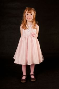 Free Cute Little Girl In Pink Dress Stock Photography - 18290492