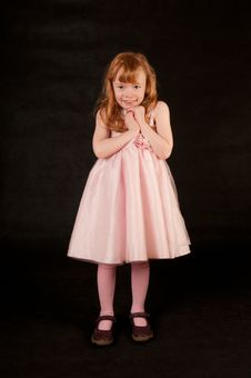 Free Cute Little Girl In Pink Dress Royalty Free Stock Photo - 18290495
