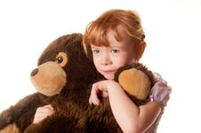 Free Cute Little Girl Holding A Teddy Bear Royalty Free Stock Photography - 18290527