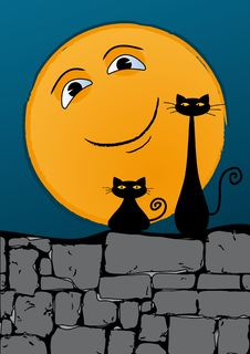 Free Black Cats On The Wall Royalty Free Stock Photo - 18290635
