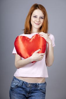 Free Beautiful Red-haired Girl With Toy Heart. Stock Photography - 18290662
