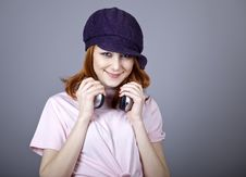 Free Fashion Girl With Headphone. Stock Image - 18290691