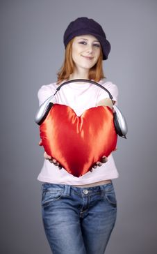 Free Beautiful Red-haired Girl With Toy Heart. Stock Images - 18290704