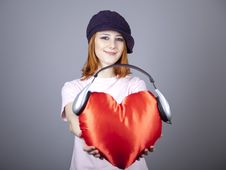 Free Beautiful Red-haired Girl With Toy Heart. Royalty Free Stock Images - 18290709