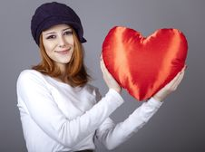 Free Beautiful Red-haired Girl In Cap With Toy Heart. Royalty Free Stock Image - 18290736