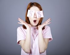 Free Girl With Dollars Symbol On Eyes. Stock Photography - 18290742
