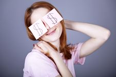 Free Girl With Dollars Symbol On Eyes. Stock Images - 18290754