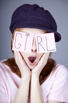 Free Urban Girl With GIRL Word On Eyes. Stock Photography - 18290782