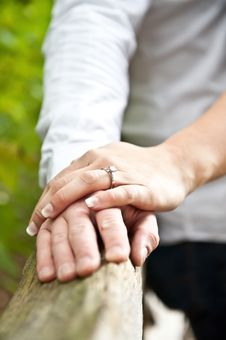 Man And Woman Holding Hands With Ring Royalty Free Stock Images