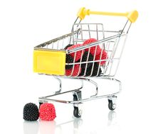 Raspberry Blackberry Fruit In The Shopping Cart