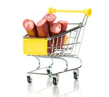 Free Salami Sausage In The Shopping Cart Royalty Free Stock Photography - 18291467
