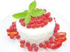 Raspberry Dessert With Pudding Stock Image