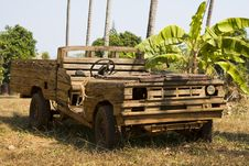 Free Old Wooden Car In The Jungle Royalty Free Stock Photo - 18294505